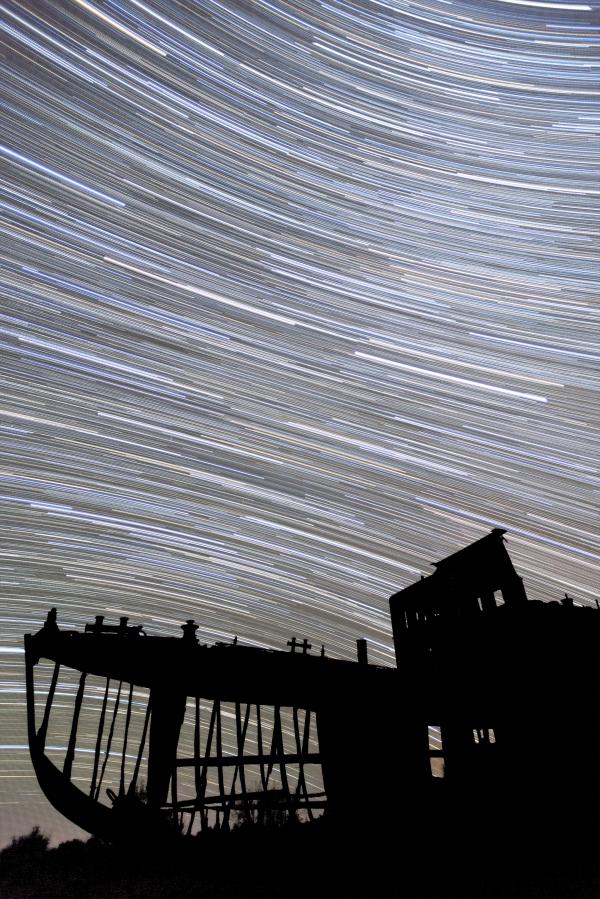 Aral Sea Ship Star Trail