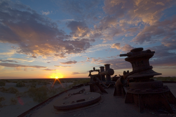 Aral Sea Ship Sunrise 1