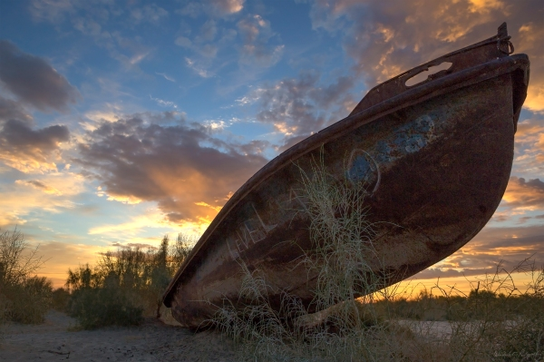 Aral Sea Ship Sunrise 2
