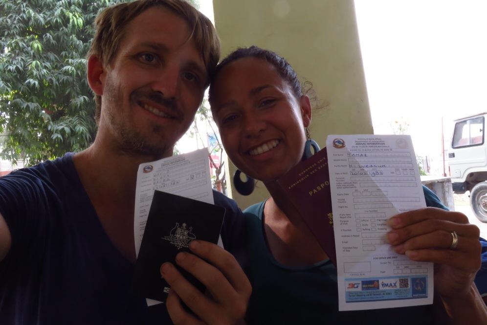 Arrivel cards at border Nepal